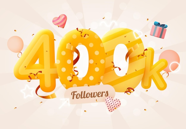 400 000 lub 400 000 obserwujących dziękuje różowe serce, złote konfetti i neony.