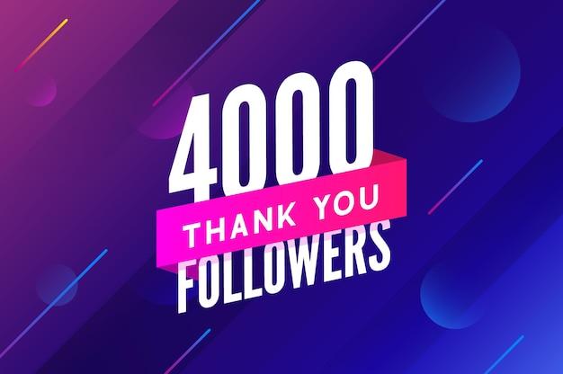 4000 obserwujących wektor powitanie karta społeczna dziękuję obserwującym