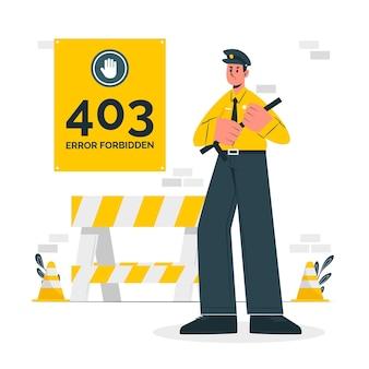 403 błąd zabroniony ilustracja koncepcja