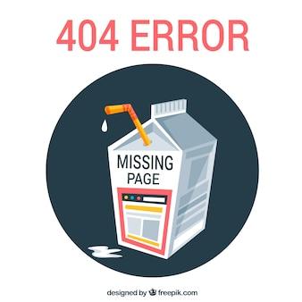 404 błąd w tle z kartonem mlecznym