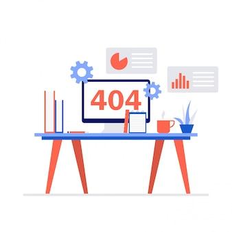 404 komunikat o błędzie na koncepcji ilustracji ekranu komputera.