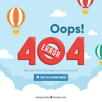 404 koncepcja błędu z balonami