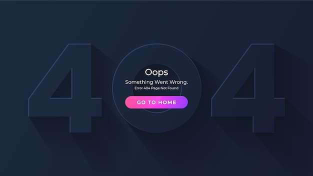404 Nie Znaleziono Strony Błędu. Minimalistyczna Ciemna Koncepcja. Brak Strony Docelowej Dla Strony Internetowej Premium Wektorów