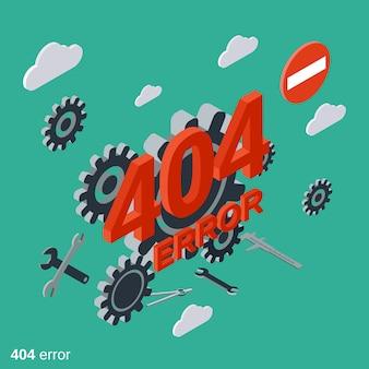 404 strona błędu ilustracji wektorowych izometryczny płaski