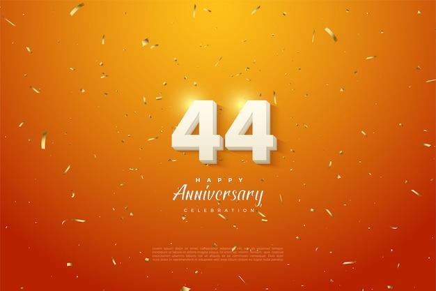 44 rocznica z białymi cyframi na pomarańczowym tle