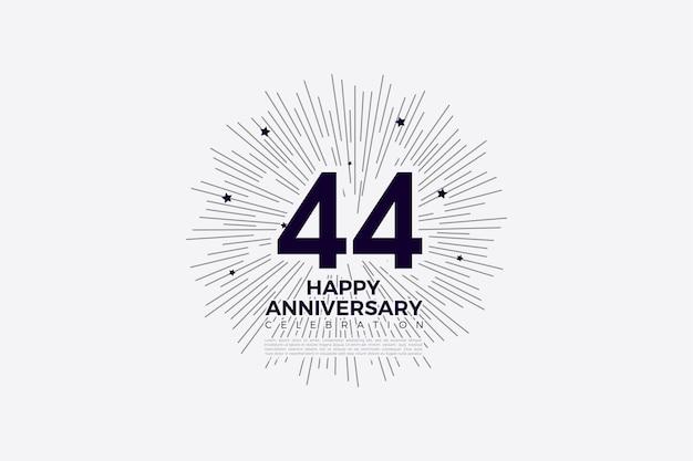 44 rocznica z czarno-białymi cyframi