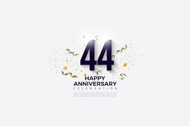 44 rocznica z czarnymi cyframi na białym tle
