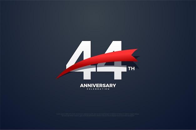 44. rocznica z czerwonym, zwężającym się wizerunkiem