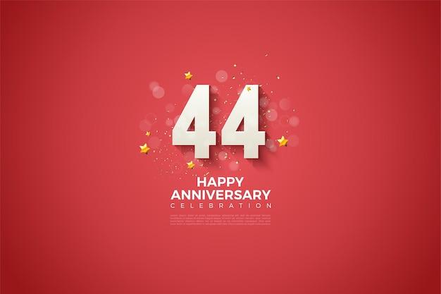 44 rocznica z fantazyjnymi numerami na czerwonym tle