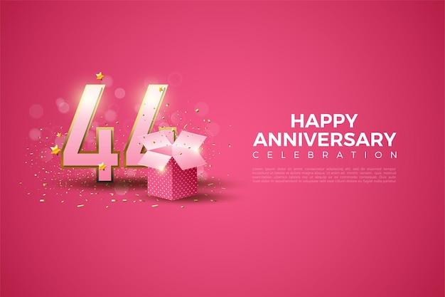 44 rocznica z ilustracją pudełka prezentowego przed liczbami