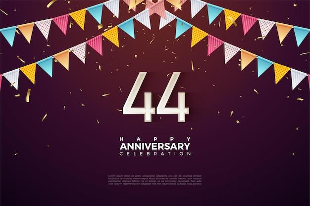 44 rocznica z kolorowymi flagami