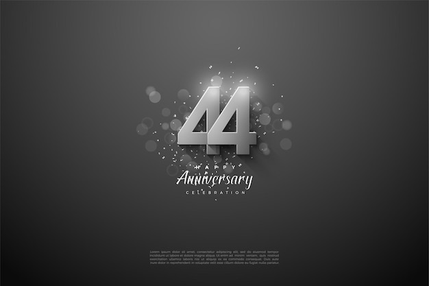 44 rocznica z liczbami na półce na czarnym tle