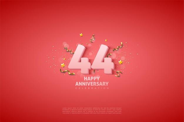 44. rocznica z miękkimi białymi cyframi