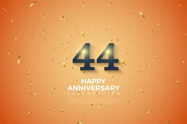 44. rocznica z miękkimi cieniowanymi liczbami