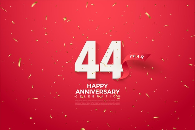 44 rocznica z numerami i czerwoną wstążką