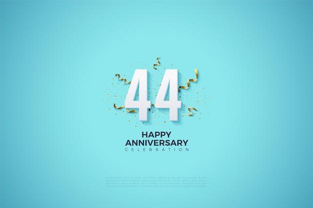 44 rocznica z numerami ozdobionymi imprezowymi wstążkami