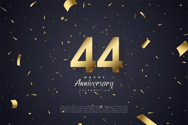 44 rocznica z porozrzucanymi papierami na czarnym tle