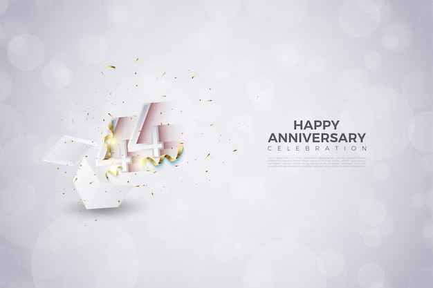 44 rocznica z wyskakującą ilustracją liczb numbers