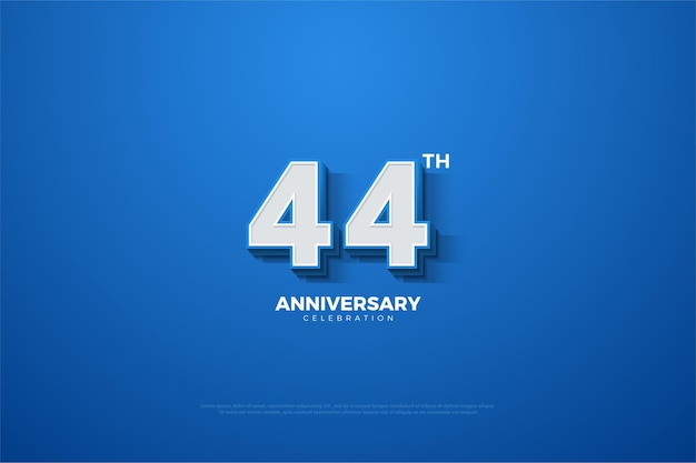 44 rocznica z wytłoczonymi numerami na niebiesko