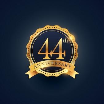 44-te rocznica obchody etykieta odznaka w złotym kolorze