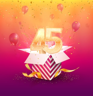 45-lecie element projektu z pudełkiem, balonami i konfetti