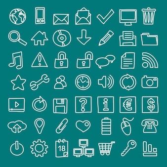 49 handdrawn web ikony