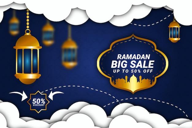 49luksusowy ramadan kareem kolor tła granatowy i złoty