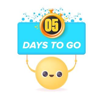 5 dni, aby przejść szablon projektu banera z uśmiechniętą buźką trzymającą odliczanie