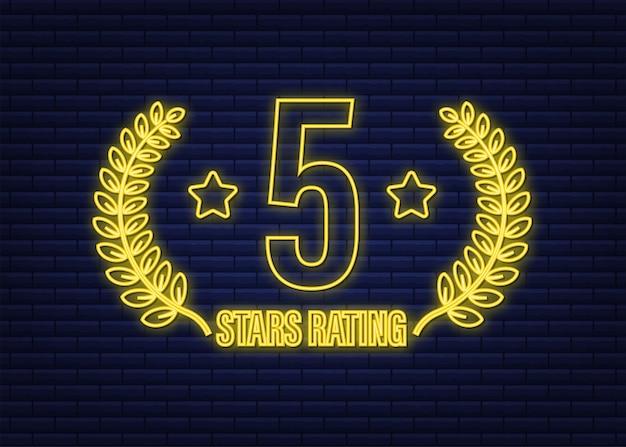 5 gwiazdek. odznaka z ikoną neon. ocena klientów w opiniach