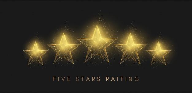 5 gwiazdek raiting. streszczenie złote gwiazdy. projekt w stylu low poly