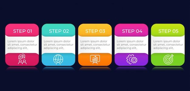 5 kroków biznesowych elementów infographic