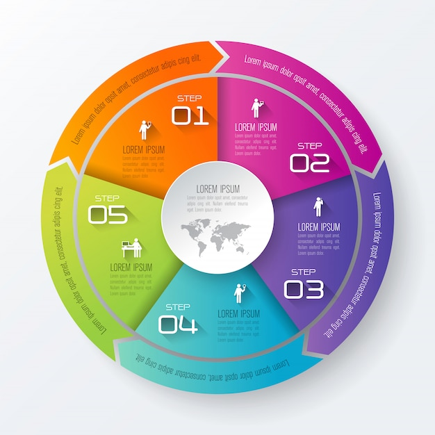 5 kroków biznesowych infographic elementów do prezentacji