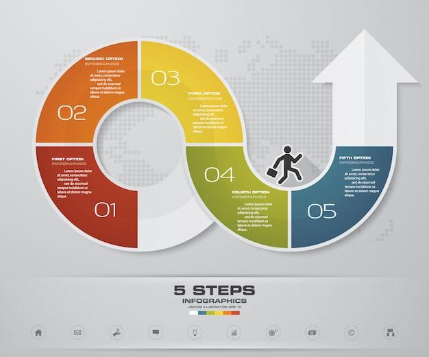 5 kroków infografika element strzałki szablon wykresu.