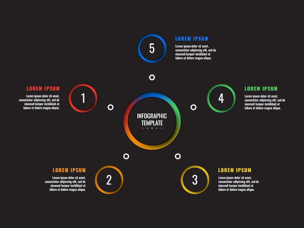 5 kroków infographic szablon z okrągłymi elementami wycinanymi z papieru na czarno