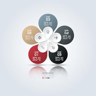 5 kroków kolorowy owalny szablon infografiki.