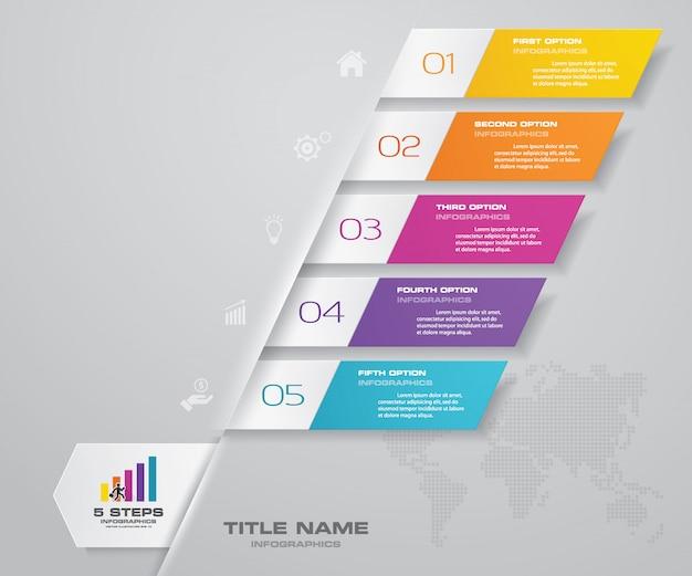 5 kroków prosty i edytowalny wykres procesu. eps 10.