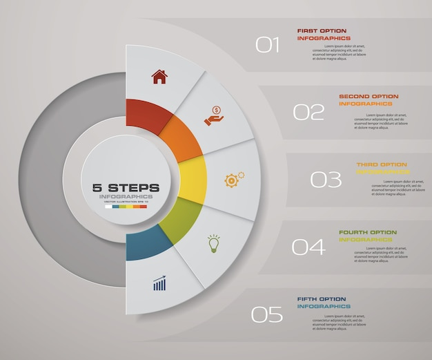 5 kroków przetwarza element infografiki do prezentacji.