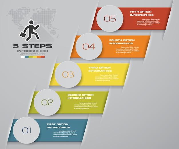 5 kroków schody infographic element do prezentacji.
