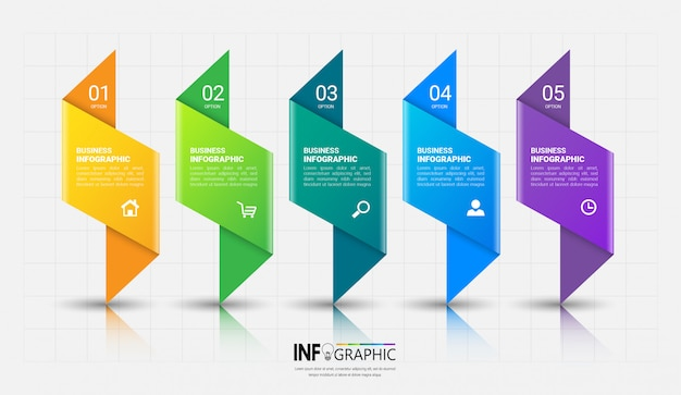 5 Kroków Szablon Infografiki Premium Wektorów