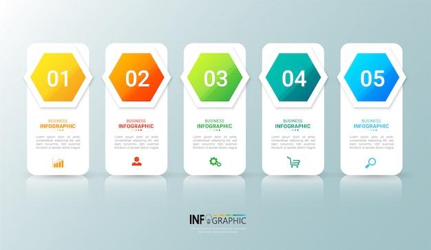 5 kroków szablon infographic