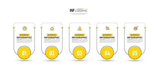 5 kroków szablon projektu infografiki osi czasu