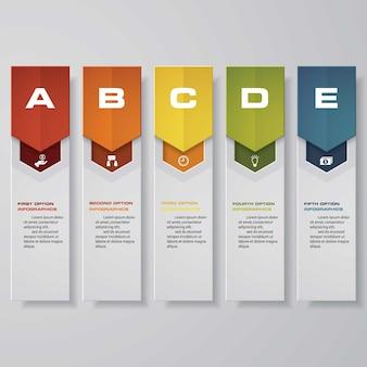5 kroków wykresu elementów infograficznych do prezentacji. eps 10