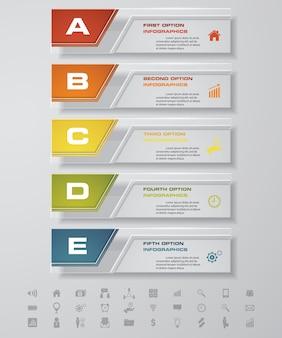 5 kroków wykresu elementów infograficznych do prezentacji.