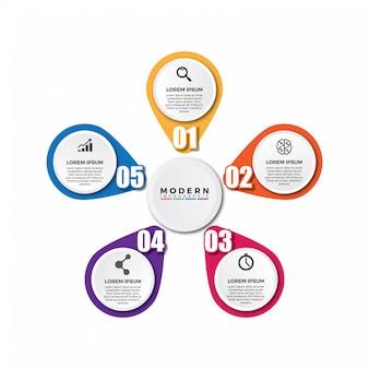 5 opcja lub kroki okrągłego szablonu infografiki.