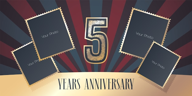 5 rocznica, kolaż ramek i numer na 5 rocznicę.