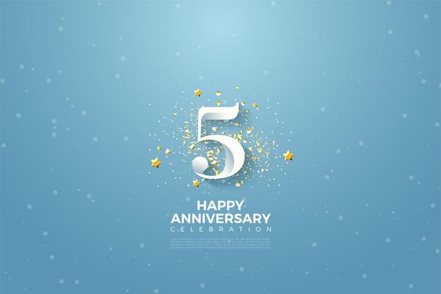 5 rocznica z ilustracją cyfr i małych gwiazdek.