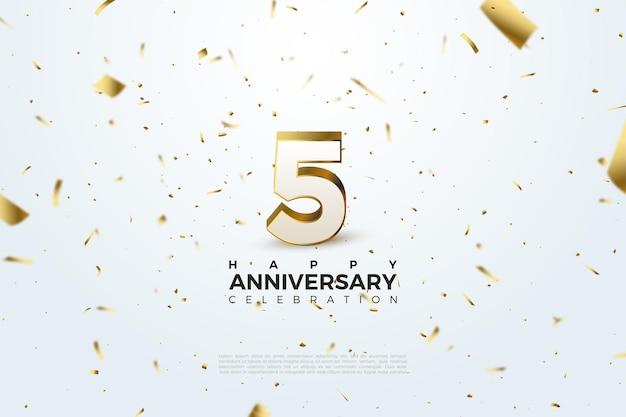 5 rocznica z ilustracją przedstawiającą trójwymiarowe liczby pokryte złotem.