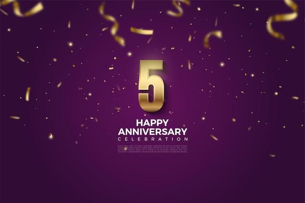 5 rocznica ze spadającymi złotymi cyframi i wstążkami.