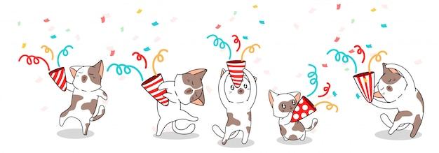 5 różnych uroczych kotów świętuje szczęśliwy dzień