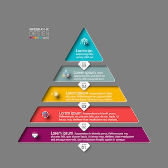 5 stopni piramidy. nowoczesny projekt infografiki